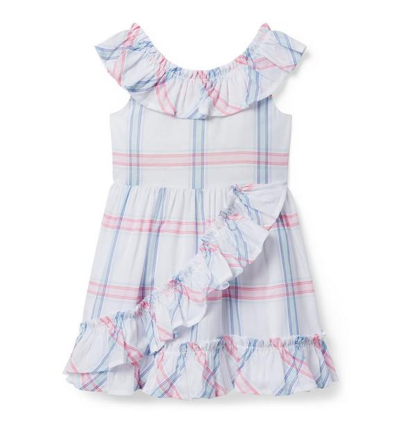 Windowpane Ruffle Dress