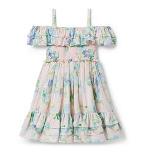 Tiered Floral Cold Shoulder Dress