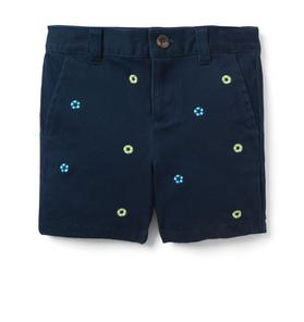 Embroidered Stretch Twill Short