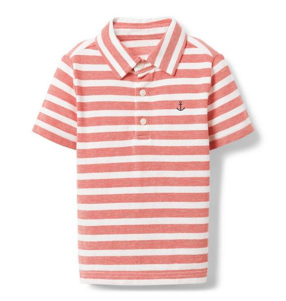 Striped Embroidered Pique Polo
