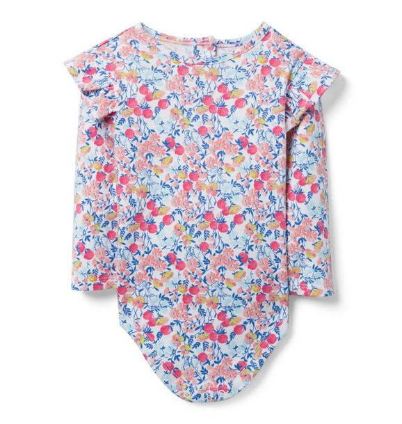 Ruffle Shoulder Floral Bodysuit