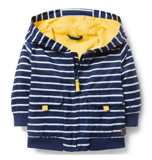 Striped Hooded Anorak Jacket