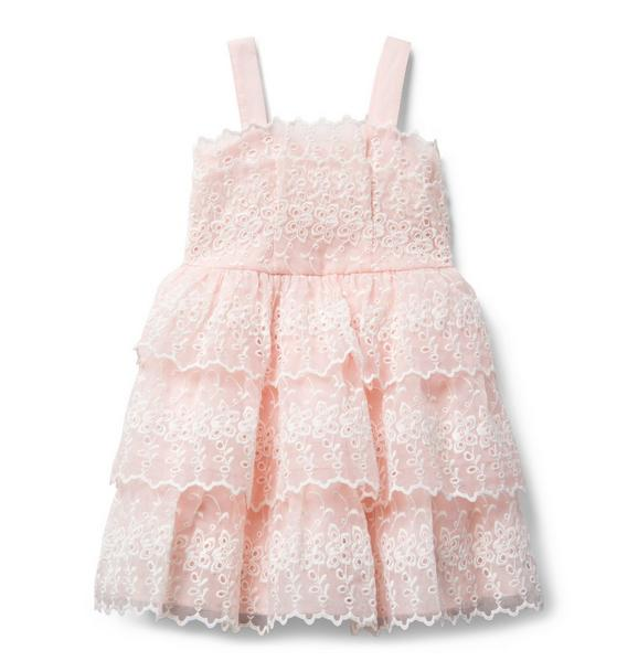 Tiered Embroidered Organza Dress