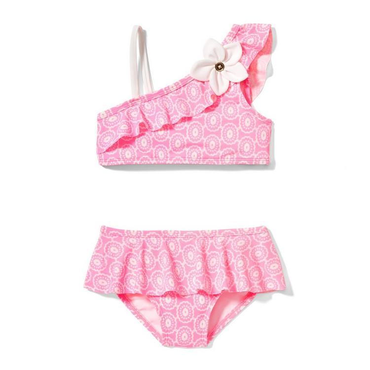 6c9809c5f4 Girl Bubblegum Pink Floral Floral Appliqué 2-Piece Swimsuit by Janie ...