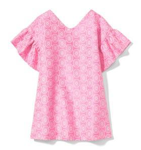 Floral Ruffle Sleeve Jacquard Dress