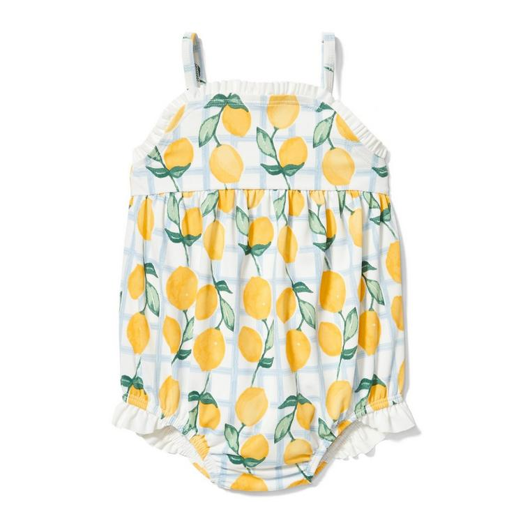05f5f3d9de2de0 Newborn White Lemon Print Lemon Swimsuit by Janie and Jack