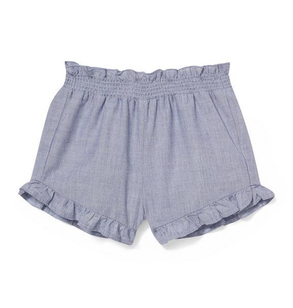 Ruffle Pom-Pom Trim Short