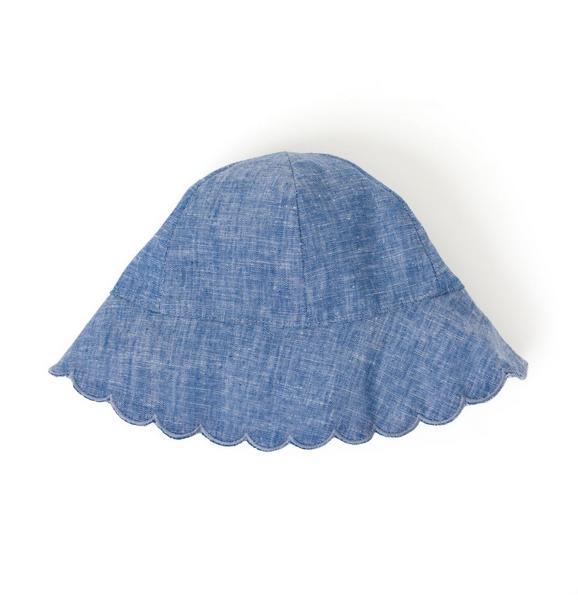 Scalloped Chambray Sun Hat