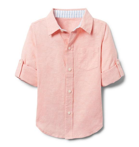 AERIN Linen Roll-Cuff Shirt