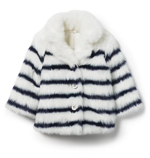 Juno Valentine Striped Faux Fur Jacket