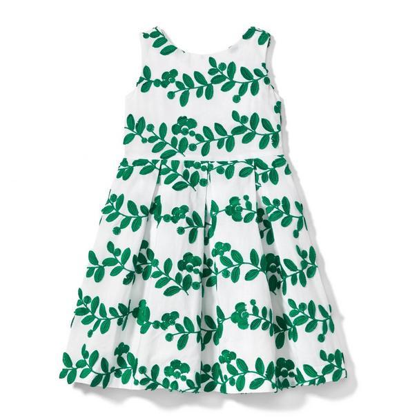 Embroidered Leaf Dress