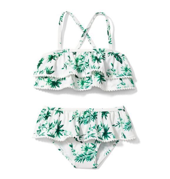 Parrot Palm Ruffle 2-Piece Swimsuit
