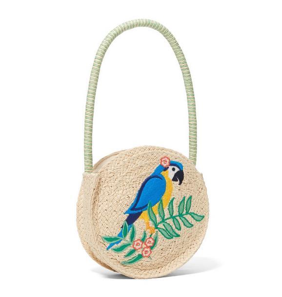 Parrot Straw Circle Bag