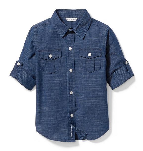 Striped Roll-Cuff Shirt