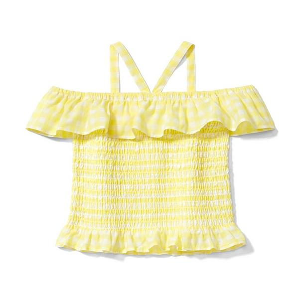 Smocked Gingham Cold Shoulder Top by Janie And Jack
