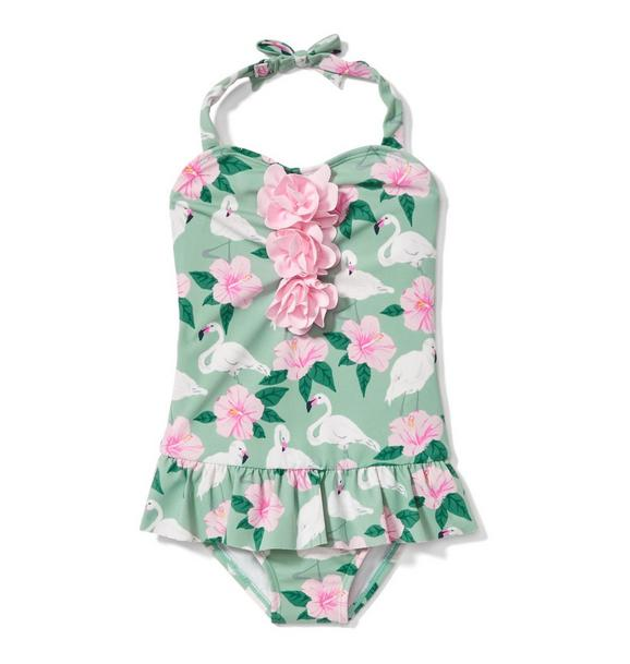 Flamingo Hibiscus Swimsuit