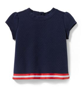 Quilted Stripe Border Top
