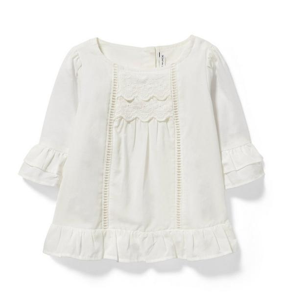 Embroidered Ruffle Cuff Top