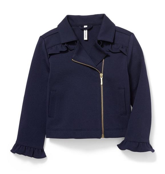 Ruffle Ponte Moto Jacket