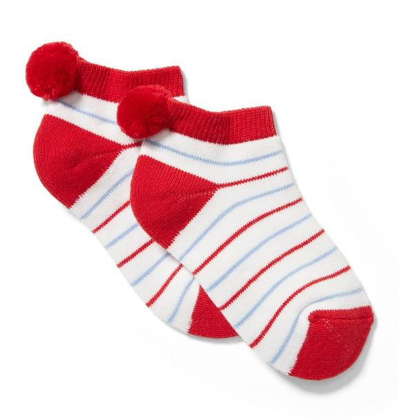 Striped Pom-Pom Sock