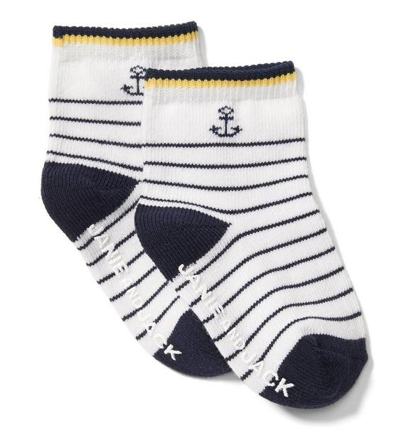 Striped Anchor Sock