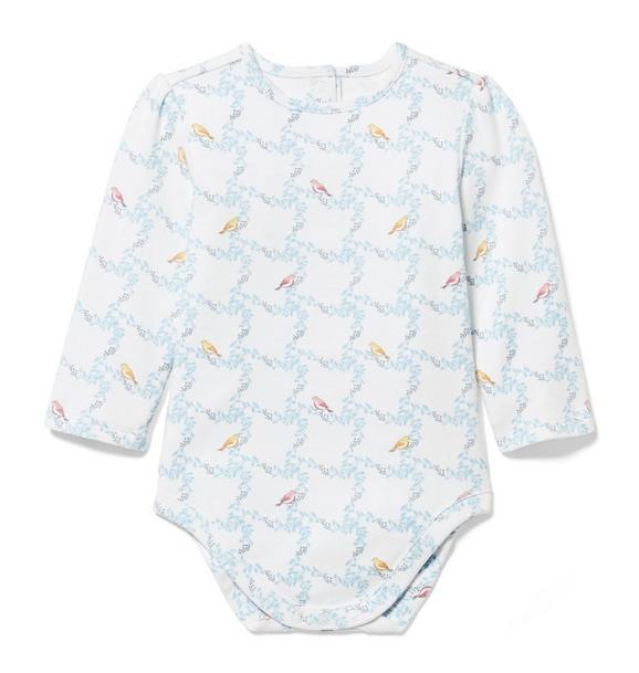 Lattice Bird Print Bodysuit