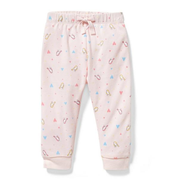 Bird and Heart Print Jogger