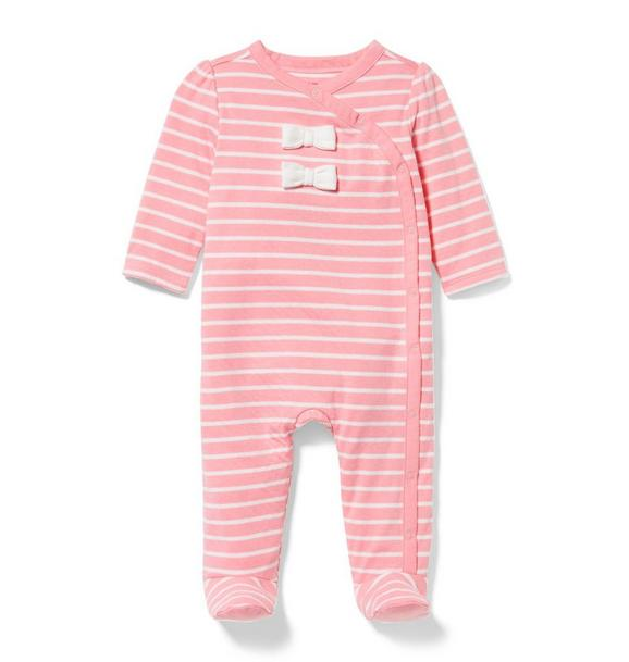 Striped Bow Footed 1-Piece