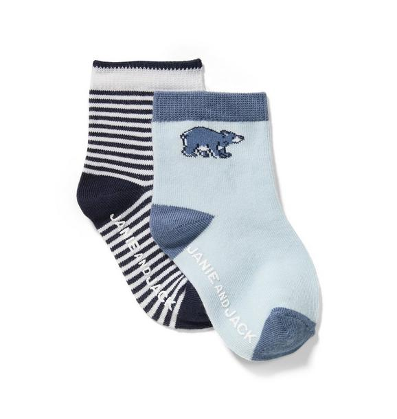 Stripe & Bear Sock 2-Pack