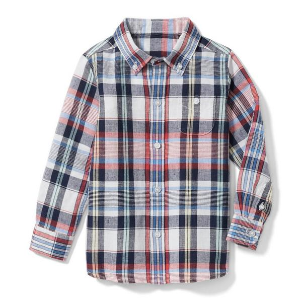 Plaid Linen Shirt by Janie And Jack