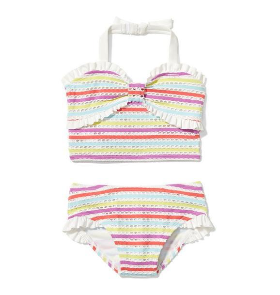 Striped Eyelet 2-Piece Swimsuit