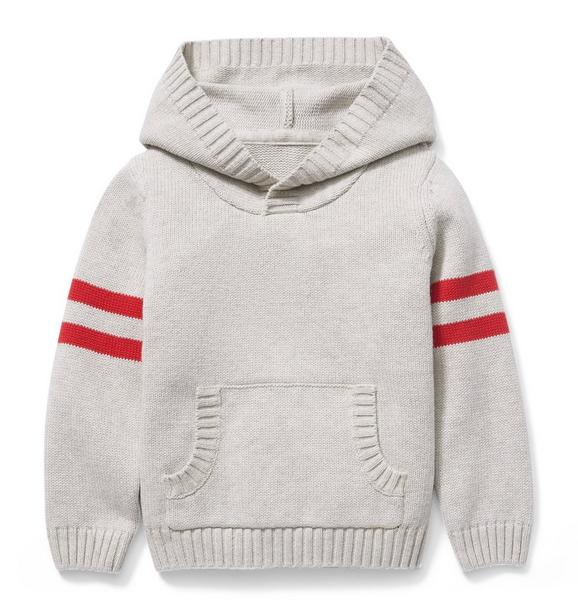 Hooded Striped Sleeve Pullover