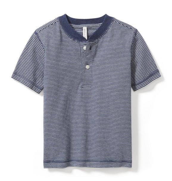 Striped Short Sleeve Henley Tee