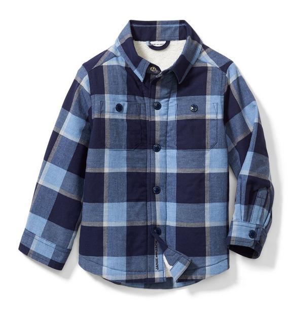 Plaid Sherpa Lined Shirt Jacket