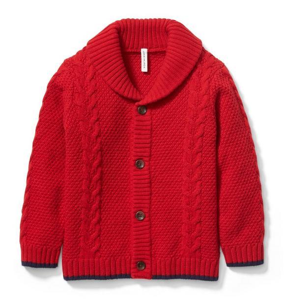 Cable Knit Shawl Collar Cardigan