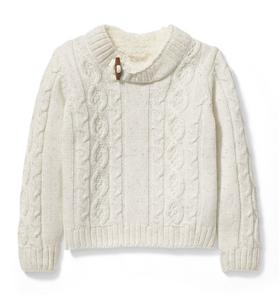 Cable Knit Sherpa Collar Pullover