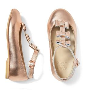 Metallic Bow T-Strap Flat