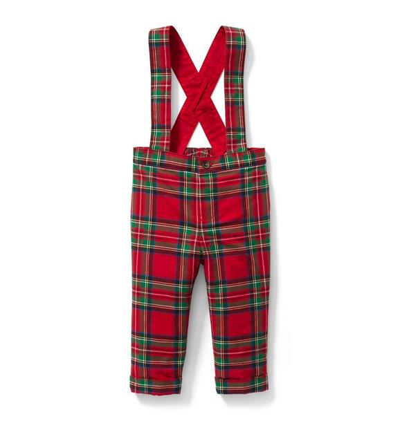 Plaid Suspender Pant