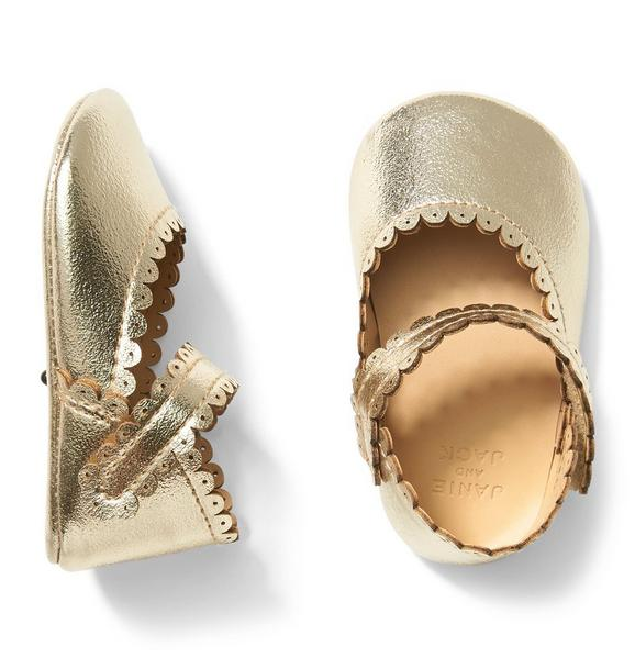 Metallic Scalloped Crib Shoe