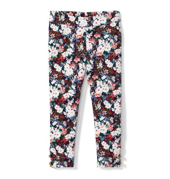 Button-Cuff Floral Ponte Pant