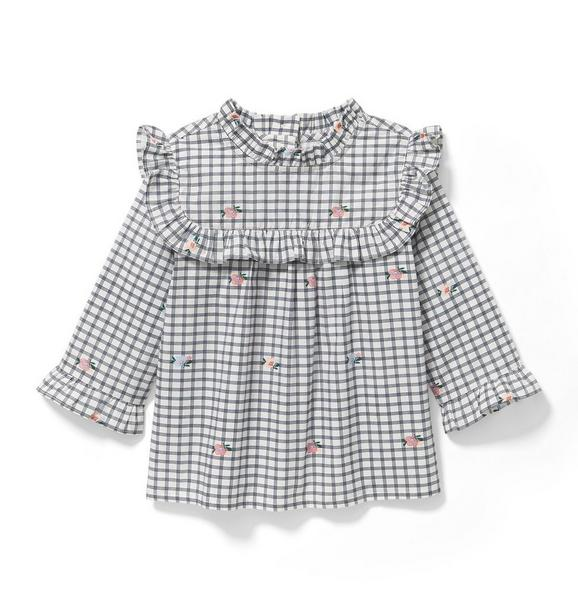 Checked Floral Top