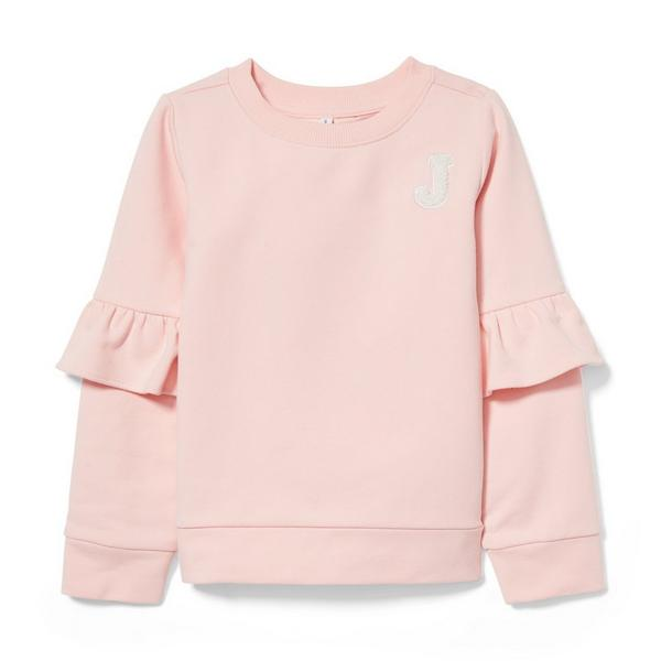 Logo Ruffle Sleeve Pullover by Janie And Jack
