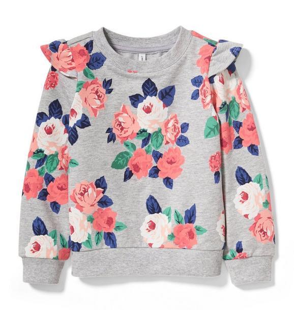 Floral Ruffle Shoulder Pullover