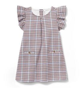 Plaid Ruffle Sleeve Dress