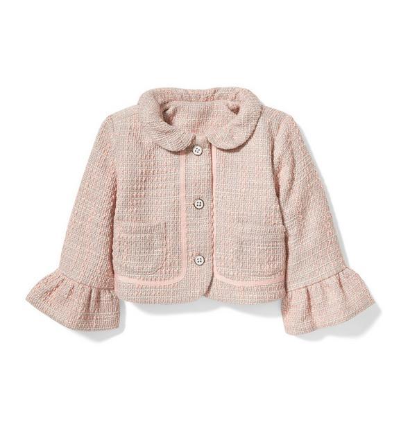 Ruffle Sleeve Bouclé Jacket