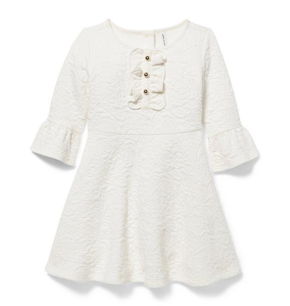 Ruffle Sleeve Jacquard Dress