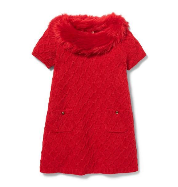 Faux Fur Collar Sweater Dress