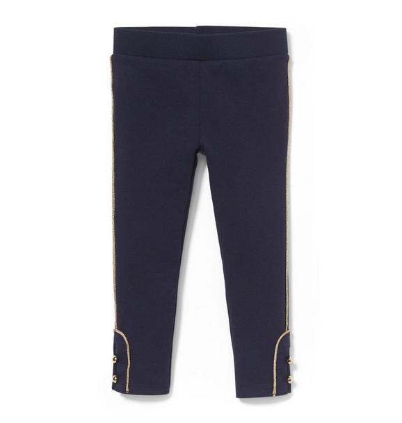 Ponte Pant With Shimmer Piping