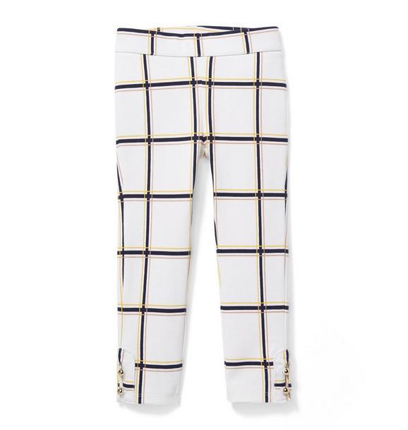 Plaid Button-Cuff Ponte Pant