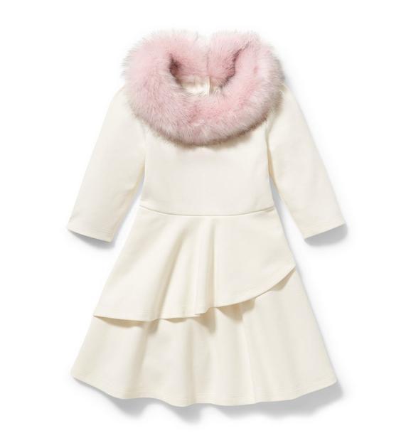 Faux Fur Collar Ponte Dress